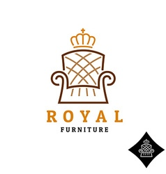 Linear style furniture logo with crown vector image