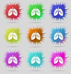 Lungs icon sign A set of nine original needle vector image