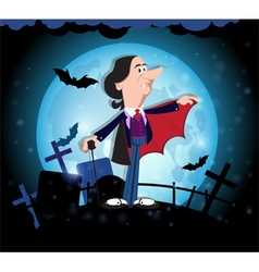 Old vampire and full moon vector image