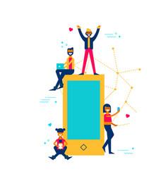People online using phone for social media app vector