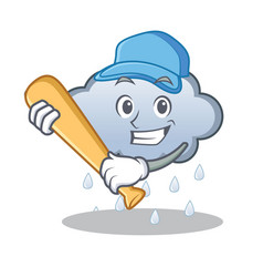 Playing baseball rain cloud character cartoon vector