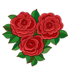 Red roses with leaves isolated on white background vector image vector image