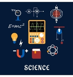 Science physics flat icons set vector image vector image