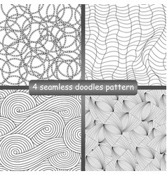 set of 4 doodles seamless patterns and textures vector image vector image