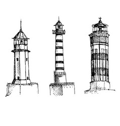set of lighthouses vector image