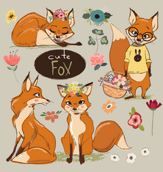 Set with cartoon fox vector