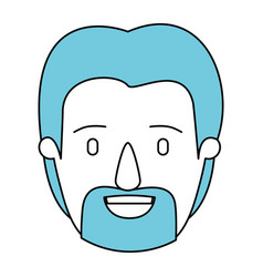 Silhouette cartoon front view face man with beard vector