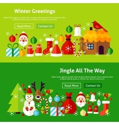 Winter greetings website banners vector