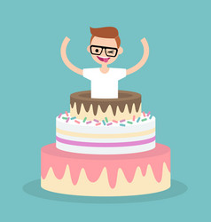 Young character jumping out of a cake flat vector