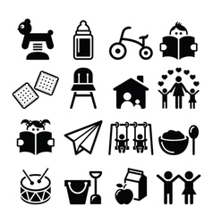 Baby or toddler in nursery or day care icons set vector