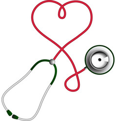 Heart shape stethoscope Cardiology concept vector image