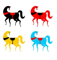 Gorodets painting colored horse set Russian vector image