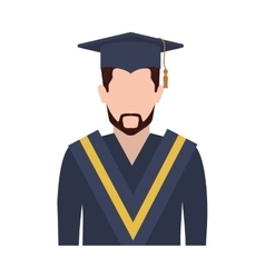 Half body man with graduation outfit with beard vector