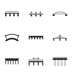 Facility for crossing river icons set vector