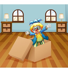 A clown inside the box vector image