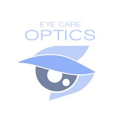 optics eye care logo symbol oculist sign vector image