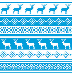ethnic nordic pattern with deer vector image