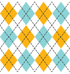 Blue and orange trendy argyle seamless pattern vector