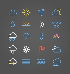 Weather forecast color web icons collection vector