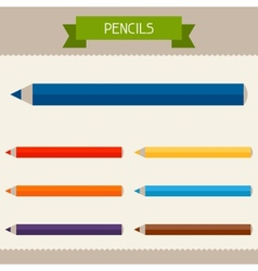 Pencils colored templates for your design in flat vector
