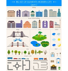 Elements of the modern city on white background vector