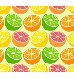 Seamless wallpaper pattern with citrus fruits vector image