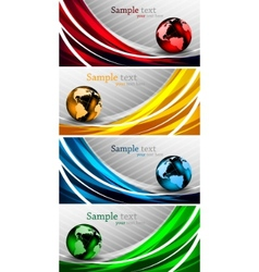 Banners with globes vector