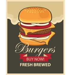 Banner with cheeseburger vector