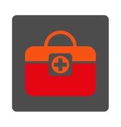 Medic case flat button vector