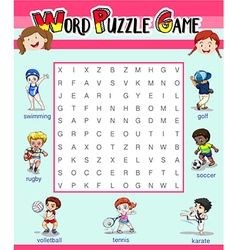 Game template with word puzzle vector