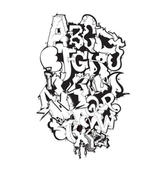 Graffiti font black and white composition vector