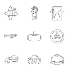 augmented reality icons set outline style vector image