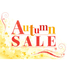 Autumn sale background with falling maple leaves vector