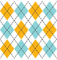 Blue and orange trendy argyle seamless pattern vector