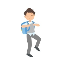 Boy in school uniform and backpack going to vector
