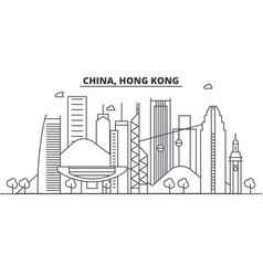 china hong kong architecture line skyline vector image