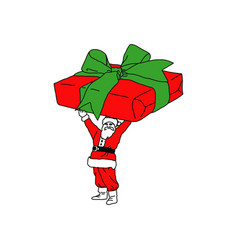 christmas santa claus with very big gift in hands vector image
