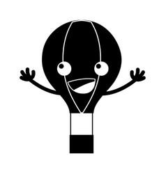 Contour happy air balloon kawaii with arms vector
