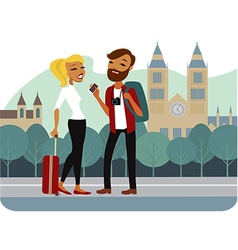 Couple of tourist in old european city vector image vector image