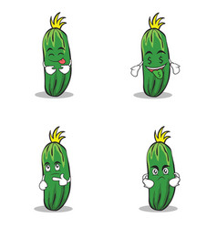cucumber character cartoon collection of set vector image