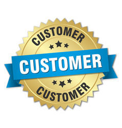 Customer 3d gold badge with blue ribbon vector