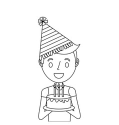 cute young boy holding birthday cake wearing party vector image
