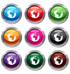 earth globe set 9 collection vector image vector image