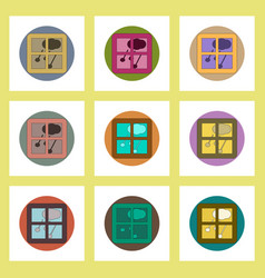 Flat icons set of hail and window concept on vector