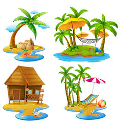 four scenes of islands and sea vector image