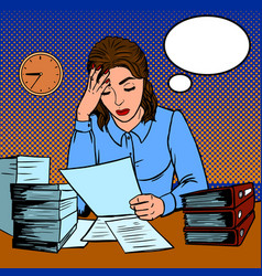 girl working hard in office pop art style vector image