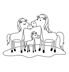 Horses couple and foal over grass in black dotted vector