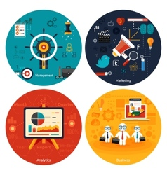 Icons for marketing management analytics vector image