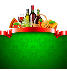 Italian food with red ribbon and green background vector
