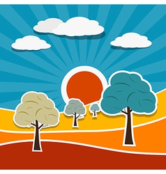Landscape with paper trees vector